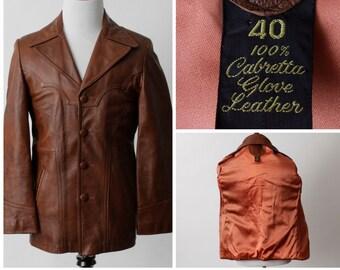 Vintage Men's Leather Coat Jacket Cabretta - 70's Men's Small S Medium M