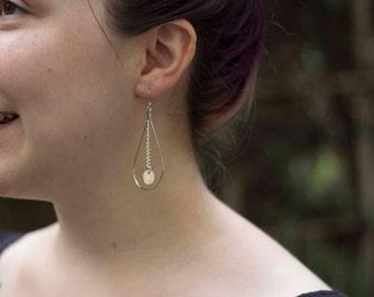 Silver Disc Dangle Hoop Drop Fishhook Earrings