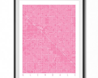 GLENDALE Map Art Print / Arizona Poster / Glendale Wall Art Decor / Choose Size and Color