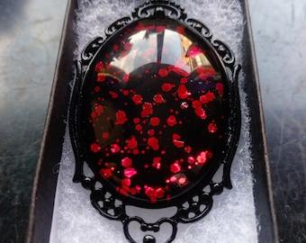 Collier gothique du sang de dragon - noir boîte cadeau inclus
