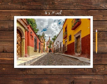 Photo Print of Aldama Street in San Miguel de Allende in 5 Sizes w/ Mounting and Size Option