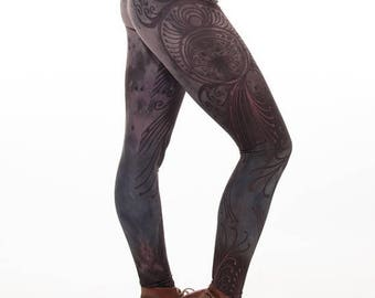 ON SALE Limited edition artist designed printed leggings, yoga pants, handmade leggings, by Plastik Wrap. All sizes