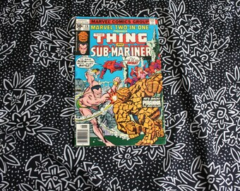 Marvel Two In One #28. The Thing And Sub Mariner Vintage 1970s Bronze Age Comic Book. Rare Fantastic Four Two In One