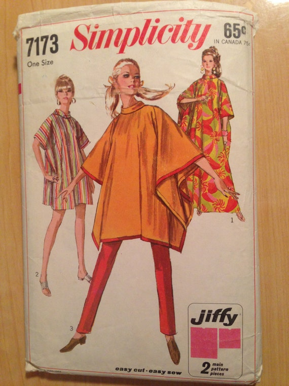 Simplicity 7173 Sewing Pattern 1960s Misses Jiffy Poncho or Burnoose One Size