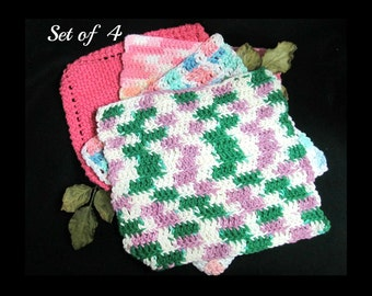 vintage handmade Dish cloths - vintage handmade Wash cloths - Crochet Knit dish cloths - crochet dish cloth ,set (4)  wash cloths - # 4