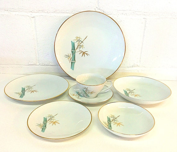 & Noritake China Oriental Pattern 6341 Bamboo 7 Piece Place