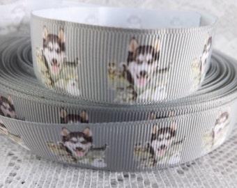 Malamute ribbon Alaskan malamute grosgrain ribbon 7/8 Siberian Husky ribbon