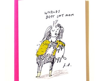 World's Best Cat Mom Card - Funny Cat Mom Card