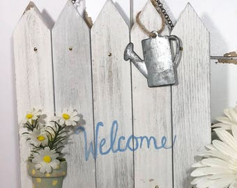 White picket fence welcome sign, wood, farmhouse , shabby chic