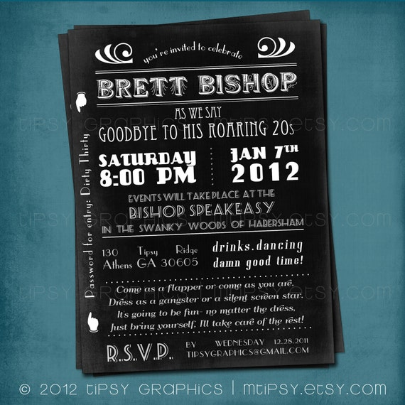 1920s Surprise Party Invitation. Art Deco. Goodbye To The