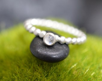 Rainbow Moonstone Sterling Silver Stacking Ring – Size 9 – OOAK – Matte Finished Silver