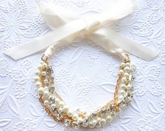 Rhinestone and Pearl Statement Necklace, Bridal Pearl Necklace, Chunky Pearl Necklace with Ribbon
