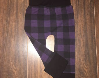 Pants scalable Plaid black and purple