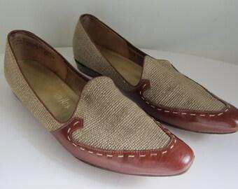 Vintage Hofheimer's Linen & Leather Loafers