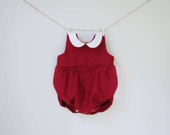 Red Baby Romper, Red Burgundy Linen Girl baby romper, Baby Playsuit Birthday outfit, Christmas Baby Outfit First Christmas Peter Pan Collar