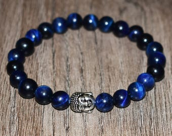 Blue Tiger Eye Bracelet Buddha Bracelet, Mens Bracelet Men Bracelet, 7 Chakra Bracelet, Boyfriend Gift for Men, Gift for Women Gift for Her