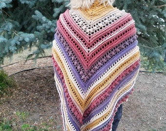 Secret Paths Shawl, over sized triangle shawl, blanket shawl, triangle scarf