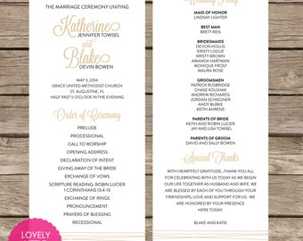 Katherine Collection Classic Simple Wedding Program- DIY Printable - Lovely Little Party - You Choose Color