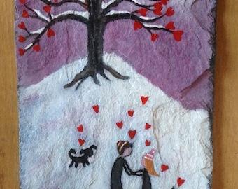 Romantic love slate painting.