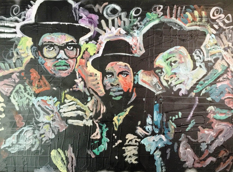 Run DMC By Matt Pecson Hip Hop Rap Music Canvas Painting On