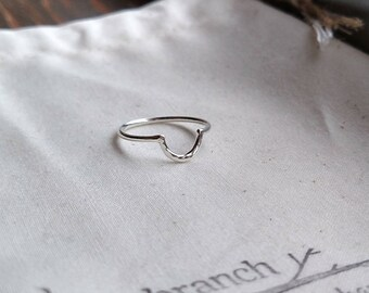 Half Circle Ring - Half Moon Ring  - Hammered Half Circle Ring - Silver C Ring - Crescent Moon Ring - Hypoallergenic Lightweight Jewelry