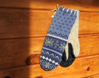 Alpine Blue Upcycled Sweater Mittens