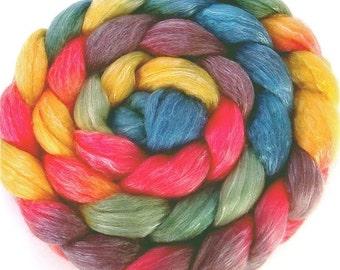 Handpainted Merino Tencel Wool Roving - 4 oz. ARCADE - Spinning Fiber