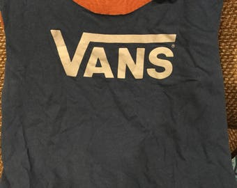 "Tote bag made from a repurposed ""VANS""tee shirt"