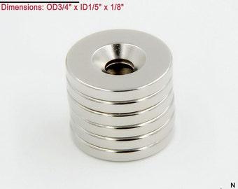 "6-Ct (Free Shipping) Neodymium N45 NdFeb 3/4"" Countersunk Ring Magnets"