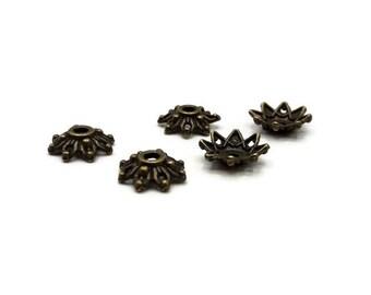 50 bead caps 8 mm - bead caps antique bronze flower 8 mm - Cup Tibetan - A215