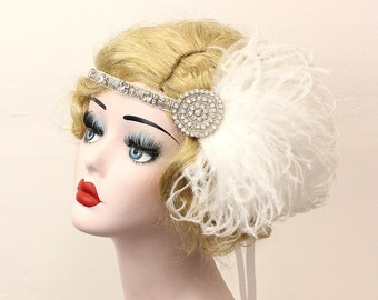 Great Gatsby Bridal Headpiece, Silver Headband,  Ivory White Feather Fascinator, 1920s Flapper Hair Accessory, Prom Accessory, Art Deco