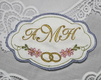 Monogrammed wedding dress label Custom Personalized embroidery label