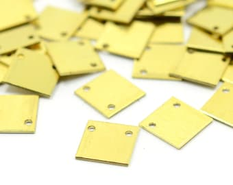 100 Pcs. Raw Brass 10x10 mm (0.8 mm Thickness ) Square Geometric 2 Hole Findings