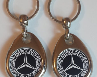 MERCEDES keychain 2 pack double sided black and white