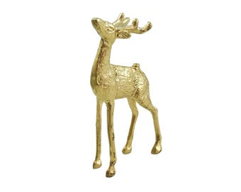 Vintage Brass Deer Figurine, Mid Century, Reindeer, Brass Figurine, Deer Figurine, Brass Deer, Desk Accessory, Brass Decor, Collectible