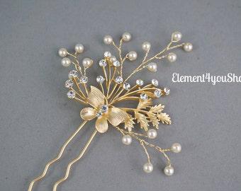 Gold bridal hair pin, Gold leaf rhinestone hair stick, Ivory white pearls vines, Wedding hair accessory, Fall wedding leaf hair piece