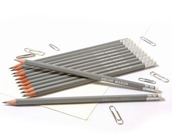High Quality Personalised Pencils -Printed with Name - Mid Grey (plus other colours)