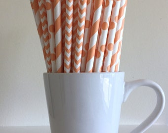 Peach Paper Straws Light Coral Striped, Chevron, Polka Dot Party Supplies Party Decor Bar Cart Cake Pop Sticks Mason Jar Straws Graduation