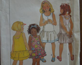 Simplicity 9679, pullover tank dress, UNCUT sewing pattern, craft supplies, girls,