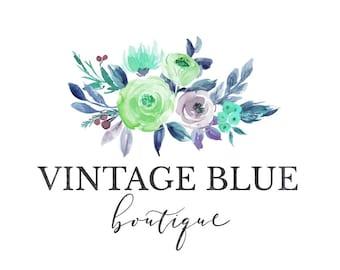Flowers Logo, Blue Flowers Logo, Branding Logo, Calligraphy Logo, Floral Logo, Mini Branding Kit, Facebook, Blog Headers, Premade, No. 8