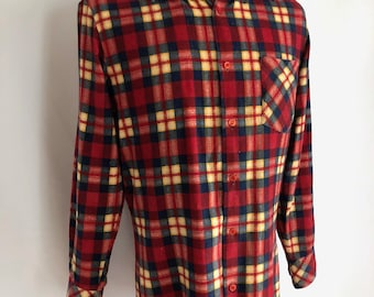 Vintage Men's 70's Plaid Flannel Shirt, Red, Button Down by Kingsport (S)