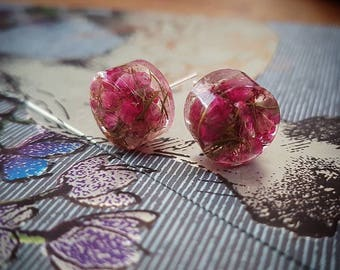 Real dried Scottish Heather stud earrings