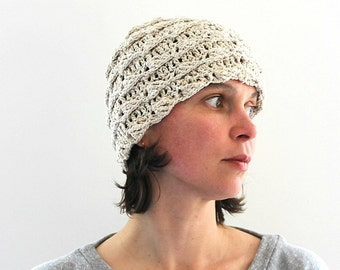 Linen hat Sun hat Organic Linen Beanie Beach wear Unbleached Unique Hand crocheted hat Sauna hat Eco Friendly Bohemian hat Summer Spring hat