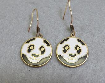 Cloisonne Black and White Panda Bear Pierced Earrings, Vintage, Cloisonne'  Earrings