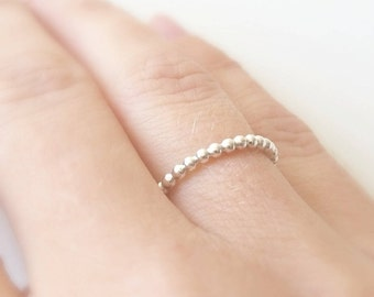 Sterling Sliver Ring - Silver Beaded Band - Stackable ring - Statement Ring - Handmade