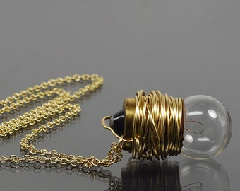 Light Bulb Necklace- Brass Upcycled Steampunk Necklace, Steampunk Jewelry, Lightbulb Necklace, Industrial Jewelry by Tanith Rohe