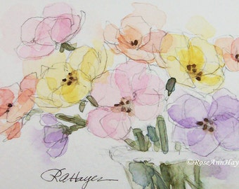 Original Watercolor Painting Pastel Flowers Floral Bouquet ACEO Garden Wildflowers