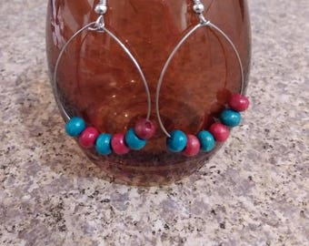 Beaded boho hoop earrings, jewelry free shipping, hoop earrings, nickle free silver jewelry, beaded earrings.