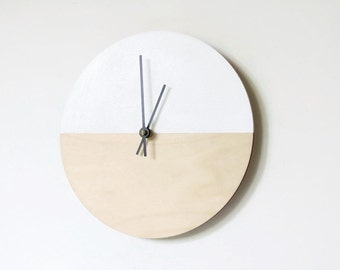 Large Wall Clock, Natural Wood and White Clocks, Living Room Wall Clock, Modern Home Decor
