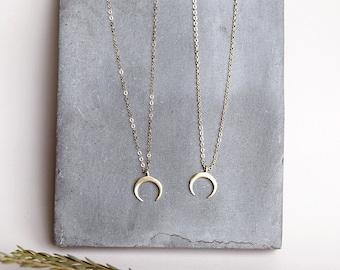 Crescent Pendant Necklace, Gold Crescent Necklace, Small Crescent Necklace, Small Gold Necklace, Layering Necklace, Gold Layering Necklace